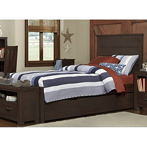 NE Kids Highlands Alex Twin Panel Bed with Trundle in Espresso