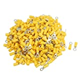 uxcell 500 Pcs RV5.5-5 AWG 12-10 Yellow Sleeve Pre Insulated Ring Terminals Connector