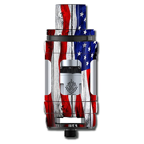 Skin Decal Vinyl Wrap for Smok TFV12 Cloud Beast King Tank Vape Mod stickers skins cover/ American Flag on Wood ()