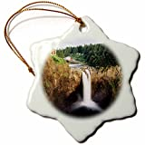 3dRose Danita Delimont - Waterfalls - Salish Lodge, Snoqualmie falls, Washington, USA - US48 CCR0319 - Charles Crust - 3 inch Snowflake Porcelain Ornament (orn_147818_1)