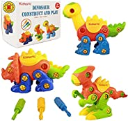 Kidtastic Dinosaur Toys - STEM Learning Original (106 pieces), 3 pack Take Apart Fun, Construction Engineering