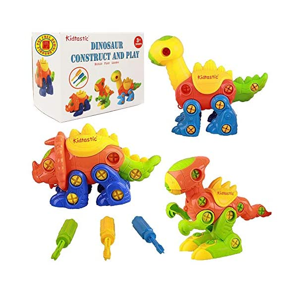 51RI1YMCrqL. SS600  - Kidtastic Dinosaur Toys, STEM Learning (106 pieces), Take Apart Fun (Pack of 3), Construction Engineering Building Play…