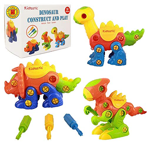Kidtastic Dinosaur Toys - STEM Learning Original (106 pieces), 3 pack Take Apart Fun, Construction Engineering Building Play Set For Boys Girls Toddlers, Best Toy Gift Kids Ages 3yr - 6yr, 3 Year olds -
