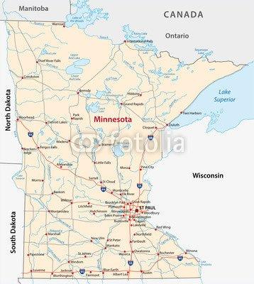 Minnesota Road Map (79216321), canvas, 90 x 100 cm: Amazon.co.uk ...