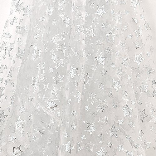 Deconovo DIY Fabric Tree Skirt White Sheer Organza Glittering Decorating Fabric Sheer for Festival Party Kids Birthday Parties or Special Events Silver Spill Star 59W x 118L ()