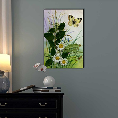 Wild Flowers and a Butterfly Floral Art Wall Decor
