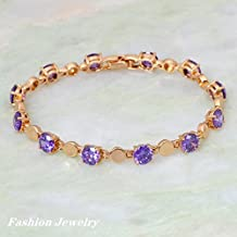 BMALL 18K Yellow Gold Plated Bracelets Bangles Purple Cubic Zirconia Stone Fashion 18.5Cm 7.28 Inch B060