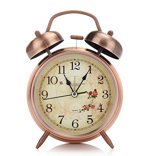 Jeteven 4 Vintage Twin Bell Alarm Clock Loud Retro Alarm Clock Quartz Analog Bedside and Table Clock with Nightlight (Copper)