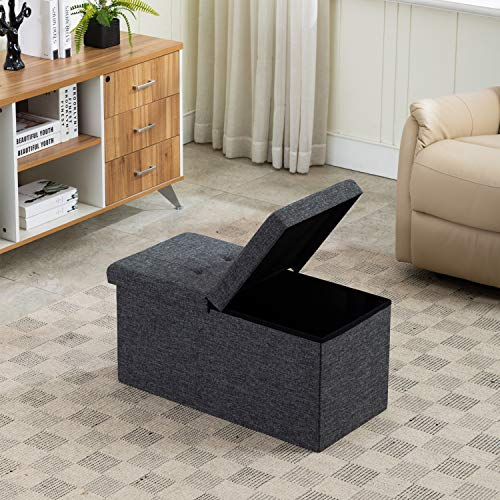 AUAG Smart Lift Top Linen Fabric Ottoman Bench Folding Storage Ottoman Sturdier Toy Box Easy to Assembly Stuff Organizers (Dary Grey, 30