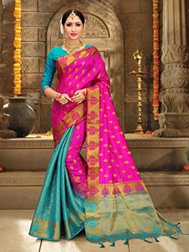 82a35b90b ELINA FASHION Sarees Women s Banarasi Art Silk Woven Work Saree l Indian  Wedding Ethnic Sari