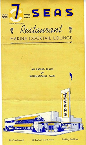 (7 Seas Restaurant & Marine Cocktail Lounge Menu SE 2nd Ave Miami Florida 1951)