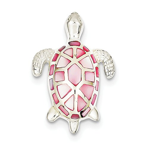 Sterling Silver Pink Mother of Pearl Turtle Slide