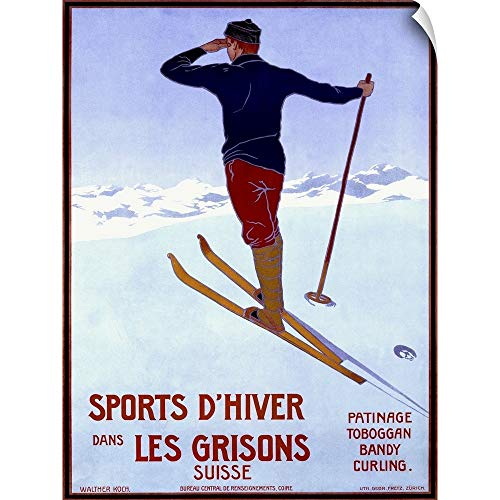 CANVAS ON DEMAND Sports dHiver Dans les Grisons, Vintage Poster, by Walter Koch Wall Peel Art Print, 27