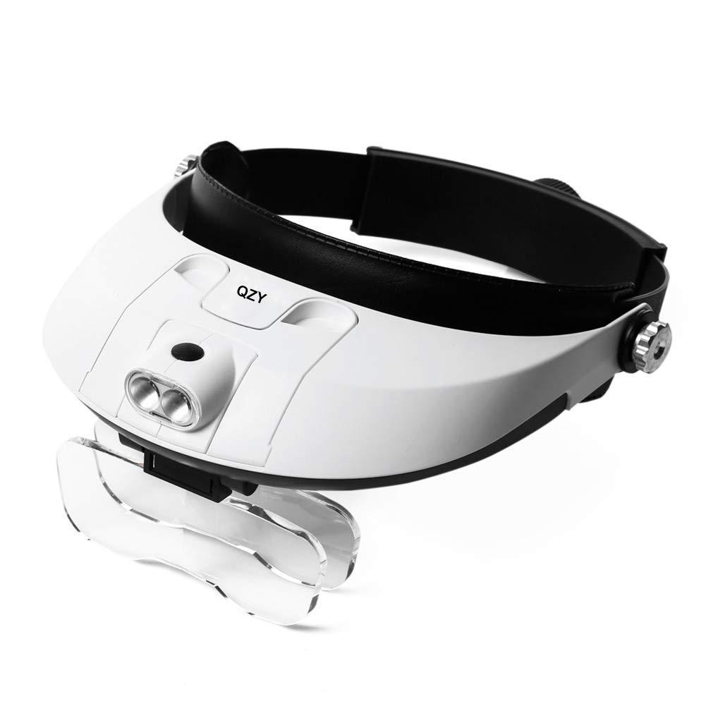 ZHAO-Magnifier Loup 1X bis 3.5X Lupe für Kopfmontage, Lupe mit LED-Licht Professionelle Juwelier-Elektronik-Reparatur-Lupenleuchte