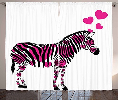 Ambesonne Pink Zebra Curtains, Zebra in Love Figure with Hearts Pastel Valentines Wedding Anniversary, Living Room Bedroom Window Drapes 2 Panel Set, 108 W X 63 L inches, Black White Pink ()
