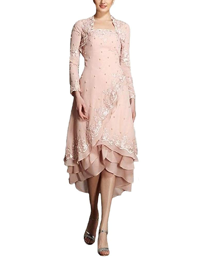 bluesh JINGDRESS Tea Length Beaded Mother of The Bride Dresses with Long Sleeve Jacket Two Piece for Women