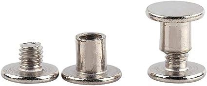 KSTE Butt Niet 100PCS Nickelbindung Chicago Schrauben Nagelnieten Fotoalbum Leder Craft M5x6mm
