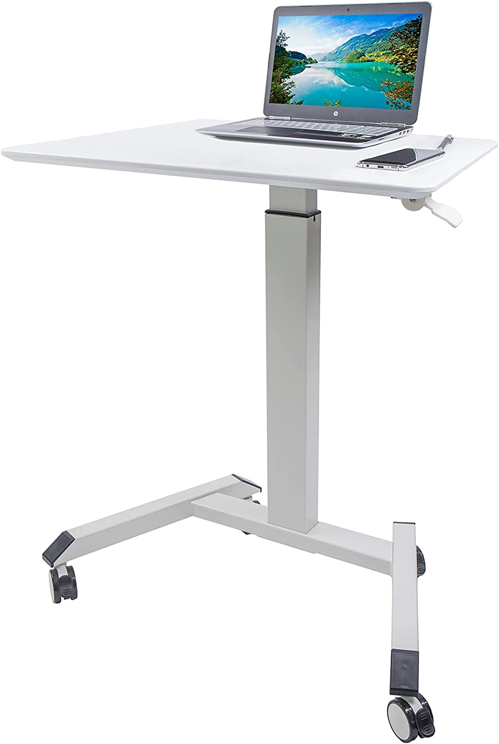 MEGAMILLION Pneumatic Laptop Standing Desk- Mobile Height Adjustable Sit to Stand Rolling Cart, Multifunctional Mobile Podium, Portable Sit Stand Lectern for Classrooms, Offices & Home