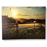 landscape design pictures BANBERRY DESIGNS Farm Scene Print - LED Lighted Canvas Picture with a Sunset Scene in The Country - Nature Artwork