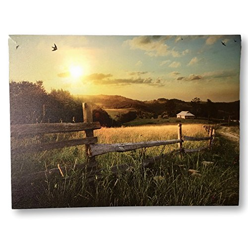 BANBERRY DESIGNS Farm Scene Print - LED Lighted Canvas Picture with a Sunset Scene in The Country - Nature Artwork