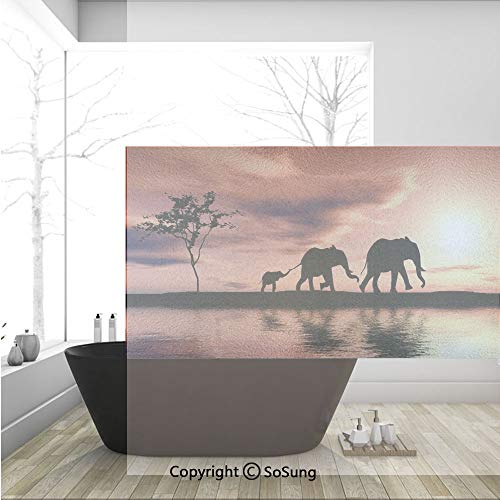 - 3D Decorative Privacy Window Films,Elephant Silhouettes by a River Africa Animals Wildlife Adventure Landscape Decorative,No-Glue Self Static Cling Glass Film for Home Bedroom Bathroom Kitchen Office