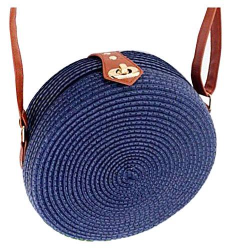 Obosoyo Women's Round Straw Rattan Bamboo Weave Shoulder Leather Straps Beach Crossbody Handbag Bag Blue ()