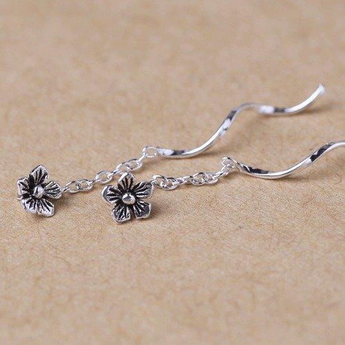 usongs sterling silver earrings Thai silver retro flower long section women girls models tassel ear line by usongs