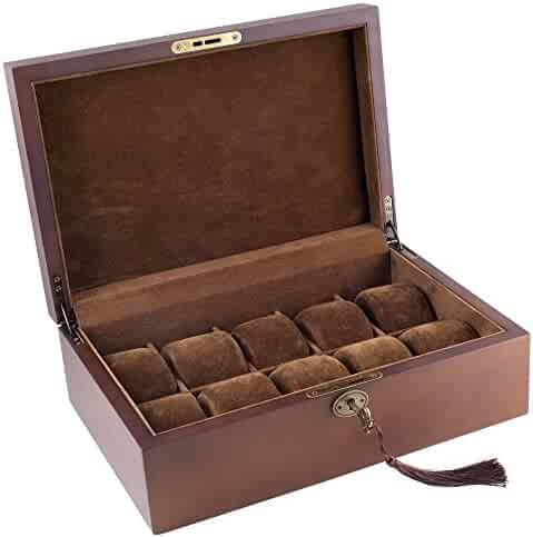 Caddy Bay Collection Vintage Wood Watch Display Storage Case Chest With Solid Top Holds 10 Watches With Adjustable Soft Pillows and High Clearance for Larger Watches