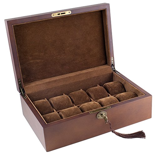Caddy Bay Collection Vintage Wood Watch Display Storage Case Chest with Solid Top Holds 10 Watches with Adjustable Soft Pillows and High for Larger Watches
