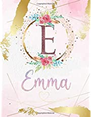 Emma: Personalized Sketchbook with Letter E Monogram & Initial/ First Names for Girls and Kids. Magical Art & Drawing Sketch Book/ Workbook Gifts for Her (Artists & Illustrators) to Create & Learn to Draw - Girly Rose Gold Watercolor Cover.
