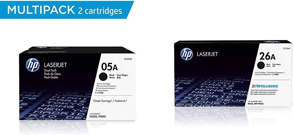 HP 05A   CE505D   2 Toner Cartridges   Black & 26A   CF226A   Toner Cartridge   Black