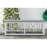 Safavieh Outdoor Collection Branco White and Ash Grey Bench, Brown For Sale