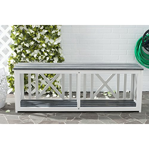 Safavieh Outdoor Collection Branco White and Ash Grey Bench, Brown