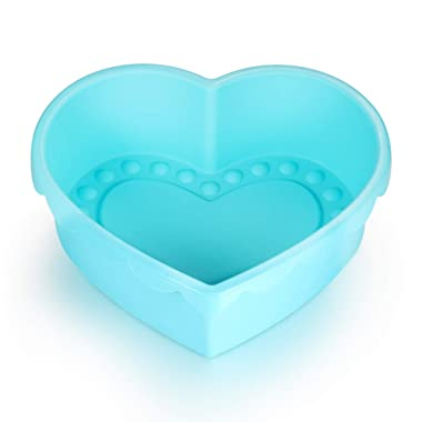 Silicone Heart Shaped Cake Pan,Silicone Cake Mold for Flexible Bundt Pan 10 inch Nonstick Baking Pan,FDA & BPA-Free-Heart Baking DIY(Blue)