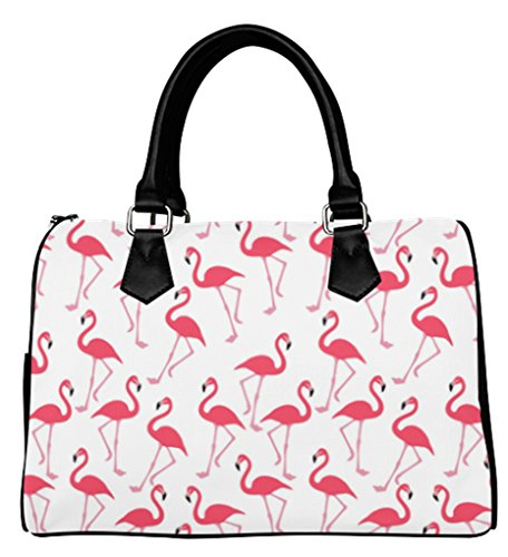 Flamingo Purse (Women Female Barrel Type Handbags Top Handle Bags Purse with Flamingo Pattern)