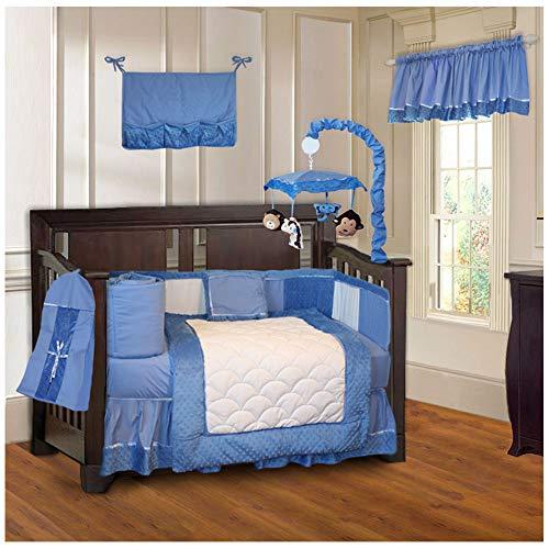 BabyFad Minky Blue 10 Piece Baby Crib Bedding Set ()