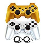 Bowink 2 Packs Wireless Bluetooth Controllers For PS3 Double Shock (Gold and Sliver)