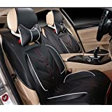 Amooca Compatible Universal Full Front Rear Ice Silk PU Fabric Car Seat Cushion Cover Fit For Tiguan Focus Peugeot Jetta 8pcs black