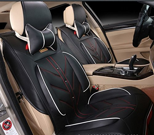 Amooca Compatible Universal Full Front Rear Ice Silk PU Fabric Car Seat Cushion Cover Fit For Tiguan Focus Peugeot Jetta 8pcs black (Minnie Mouse Car Cover Seats compare prices)