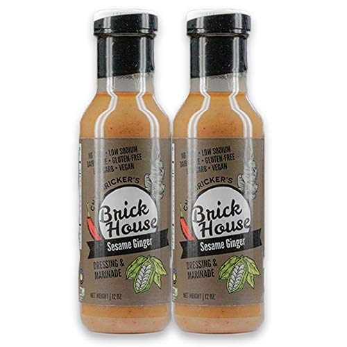 Brick House Vinaigrettes - Sesame Ginger salad dressing and marinade, artisan made, vegan, low sodium/carb (keto), gluten/dairy/soy/nut free (two-pack)