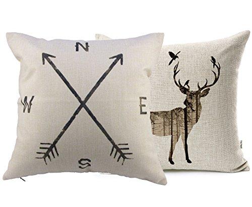 YouYee Simmias Cotton Linen Throw Pillow Case Cushion Cover, Cartoon Deer (Set2) (Deer Pillow Cover)