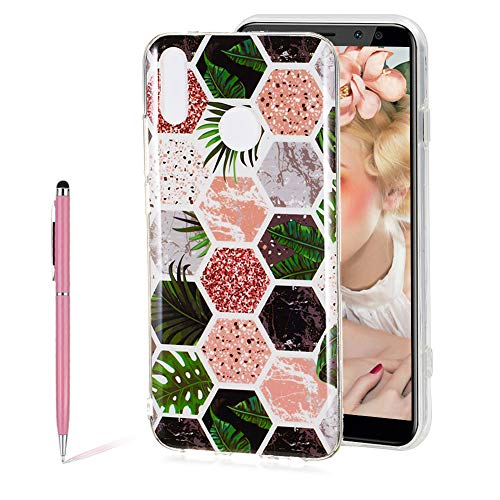 3D Shiny Printing Tropical Rainforest Mosaic Marble Painted Design Matte TPU Soft Silicone Case for Huawei Y9 2019,SKYXD Unique Flexible Slim-Fit Ultra-Thin Anti-Scratch Shockproof Dustproof Cover