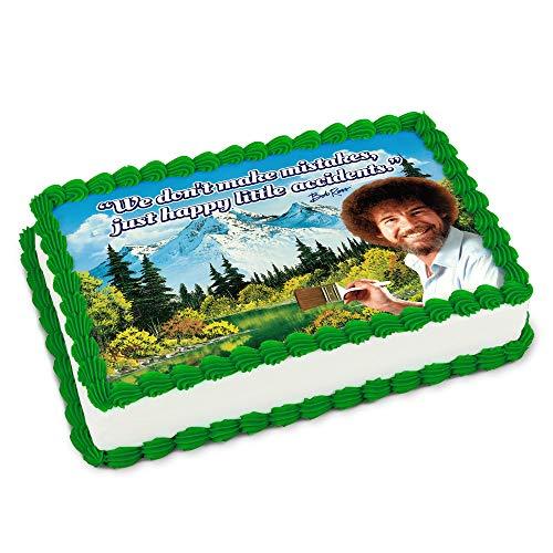 Bob Ross Printed Cake Icing Sheet 1/4 Sheet Size