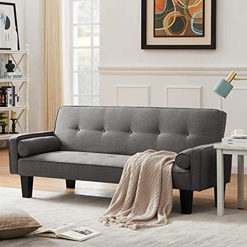 DKLGG Modern Futon Sofa Bed Convertible Love Seat Couch Folding Linen Fabric Sleeper Sofas