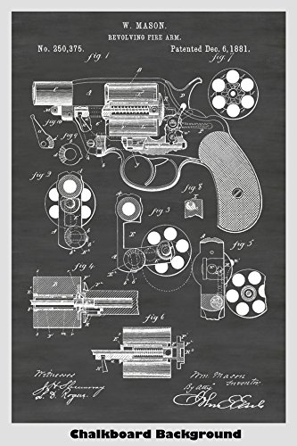 1881 Colt Revolver Patent Print Art Poster: Choose From Multiple Size and Background Color Options 1881 Poster Print