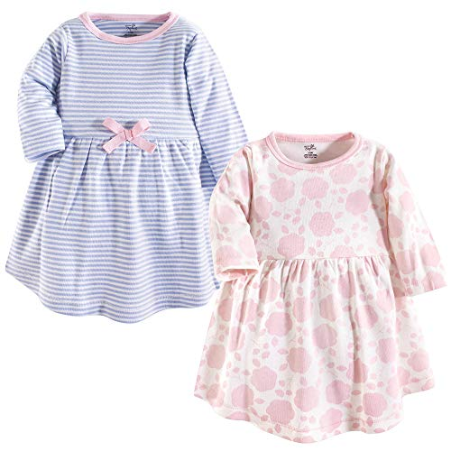 Touched by Nature Baby Girl Organic Cotton Dresses, Floral Shadow Long Sleeve 2-Pack, 9-12 Months (12M)