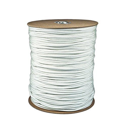 Our School Spirit 50' hank 100 ft hanks & 1000 ft spools of paracord 550 Type III Parachute Cord 7 Strand (White, 50) (Dry Dock Hitch)