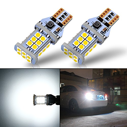 AUTOGINE 1300 Lumens Error Free 921 912 906 904 902 W16W T15 LED Bulbs 3030 24SMD for Reverse Lights Back Up Lights 6500K White (Pack of 2)