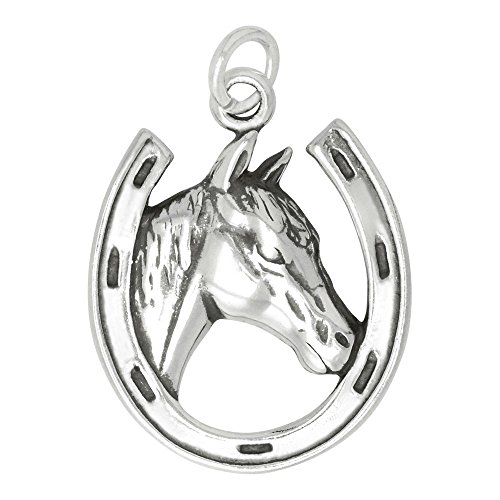 Sterling Silver Horse in Horseshoe Charm (22 x 18 mm) (Horse Charm Silver)