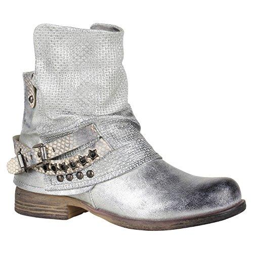 Stiefelparadies Damen Stiefeletten Biker Boots Schnallen Nieten Knöchelhohe Stiefel Leder-Optik Flandell Silber Glitzer